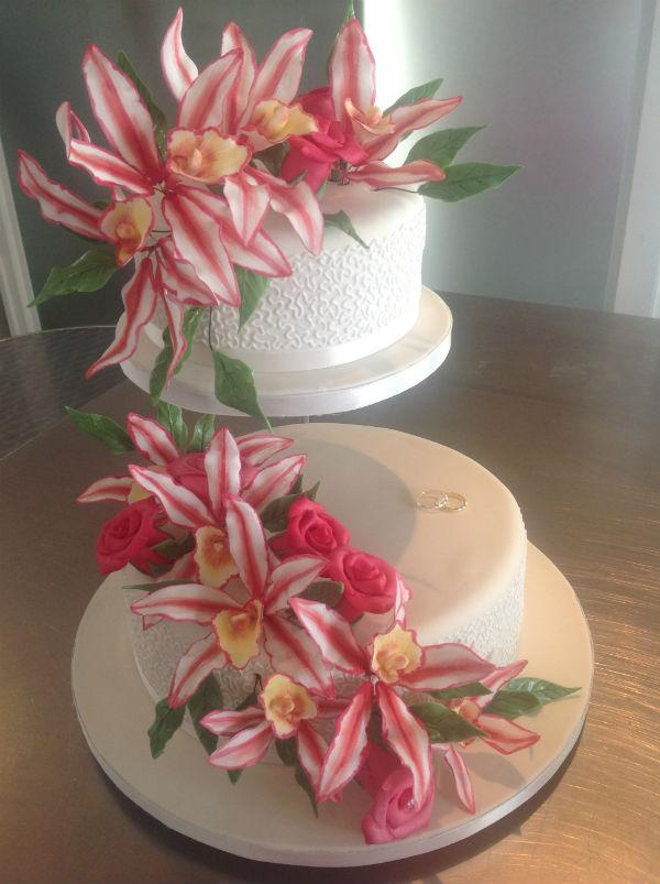 lillies, orchids 2 tier